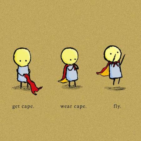 get cape, wear cape, fly