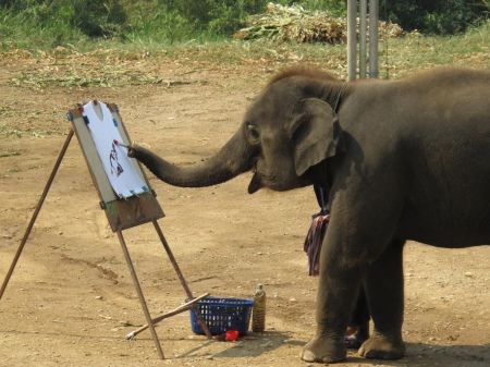 elephant painting itself